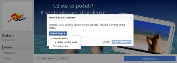 vyber lokalizacie fb Stranky
