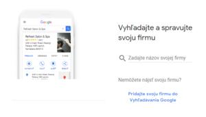 Google moja firma registrácia krok 1