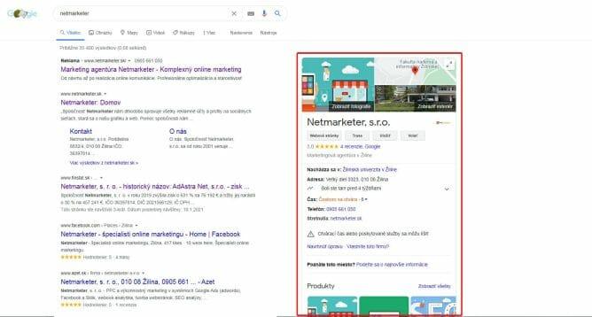 Google Moja firma náhľad